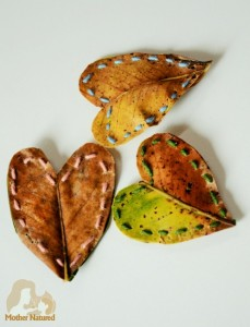 Nature-crafts-for-kids-leaf-hearts